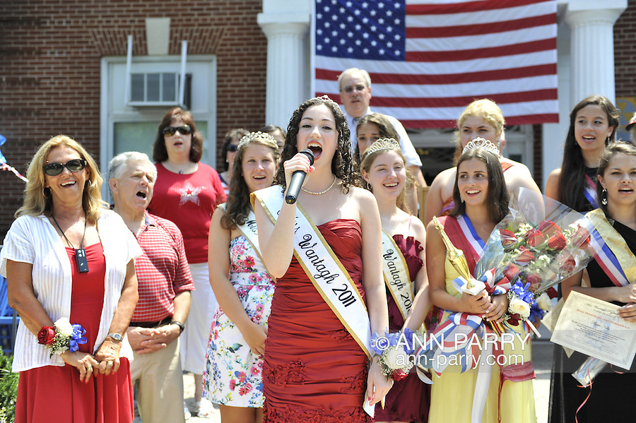 Miss Wantagh Pageant ceremony, a long-time Independence Day tradition on Long Island, is Wednesday, July 4, 2012, at Wantagh School, New York, USA. Hailey Orgass, Miss Wantagh 2012, was crowned by Kara Arena, Miss Wantagh 2011, who sang two patriotic songs. At front extreme left is Ella Stevens, the Wantagh Pageant Coordinator . First runner up was Allysa Kelly, 2nd runner up was Paulina Renda, and 3rd runner up was Allison Hopkins. Since 1956, the Miss Wantagh Pageant, which is not a beauty pageant, has crowned a high school student based mainly on academic excellence and community service.