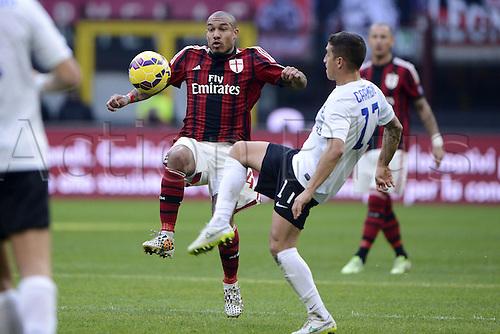18.01.2015. Milan, Italy. Serie A football league. AC Milan verus Atalanta.  Nigel De Jong Milan, Carmona Atalanta