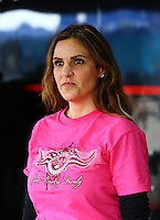 Apr 24, 2015; Baytown, TX, USA; Taya Kyle , wife of US Navy sniper Chris Kyle in the pits during NHRA qualifying for the Spring Nationals at Royal Purple Raceway. Mandatory Credit: Mark J. Rebilas-
