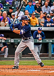 16 September 2017: San Diego Padres outfielder Matt Szczur in action against the Colorado Rockies at Coors Field in Denver, Colorado. The Rockies shut out the Padres 16-0 in the second game of their 3-game divisional series. Mandatory Credit: Ed Wolfstein Photo *** RAW (NEF) Image File Available ***