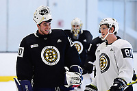 June 26, 2018: Boston Bruins goalie Jeremy Swayman (70) and forward Mitchell Fossier (81) talk during the Boston Bruins development camp held at Warrior Ice Arena in Brighton Mass. Eric Canha/CSM