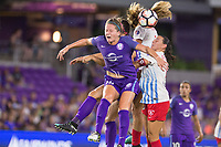 Orlando, FL - Saturday August 05, 2017: Maddy Evans, Vanessa DiBernardo during a regular season National Women's Soccer League (NWSL) match between the Orlando Pride and the Chicago Red Stars at Orlando City Stadium.