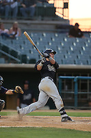 Stryker Trahan (25) of the Visalia Rawhide bats during a game against the Lancaster JetHawks at The Hanger on June 16, 2015 in Lancaster, California. Lancaster defeated Visalia, 11-3. (Larry Goren/Four Seam Images)