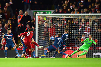 Liverpool's Roberto Firmino scores his side's first goal  <br /> <br /> Photographer Richard Martin-Roberts/CameraSport<br /> <br /> UEFA Champions League Group C - Liverpool v Crvena Zvezda - Wednesday 24th October 2018 - Anfield - Liverpool<br />  <br /> World Copyright © 2018 CameraSport. All rights reserved. 43 Linden Ave. Countesthorpe. Leicester. England. LE8 5PG - Tel: +44 (0) 116 277 4147 - admin@camerasport.com - www.camerasport.com