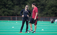 STANFORD, CA - November3, 2011: Head Coach Tara Danielson and Assistant Coach Patrick Cota before the Stanford vs. Appalachian State opener of  the  NorPac Championship at the Varsity Turf on the Stanford campus Thursday afternoon.<br /> <br /> Stanford defeated Appalachian State 7-0.
