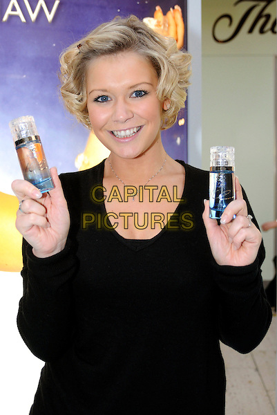 "SUZANNE SHAW.Launches her new perfume ""Ice"" at Bluewater Shopping Centre, Greenhithe, Kent, England..November 21st, 2008.fragrance half length black top.CAP/BRC.©Ben Rector/Capital Pictures."
