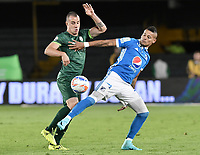 BOGOTA, COLOMBIA-29-11-2017: Ayron del Valle (Der) jugador de Millonarios disputa el balón con Andres Correa (Izq) jugador de La Equidad durante partido partido por los cuartos de final vuelta de la Liga Aguila II 2017jugado en el estadio Nemesio Camacho El Campin de la ciudad de Bogota. / Ayron del Valle (R) player of Millonarios fights for the ball with Andres Correa (L) player of La Equidad during second leg match for the quarterfinals of the Liga Aguila II 2017played at the Nemesio Camacho El Campin Stadium in Bogota city. Photo: VizzorImage / Gabriel Aponte / Staff.