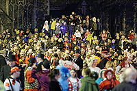 "Pictured: Locals gather at outside St Mary's Church to watch the Christmas parade in Swansea, Wales, UK. Sunday 19 November 2018<br /> Re: Swansea Christmas parade attended by thousands has been branded a ""shambles"" for having just three floats.<br /> The annual festive event in south Wales, which took place on Sunday, promised ""dynamic dance-troupes"" as well as ""spectacular shows and stages"".<br /> But the parade was scaled down, leading to a barrage of criticism on social media because of roadworks in the city centre. <br /> The leader of Swansea Council, Rob Stewart apologised on Facebook and said the parade was not ""good enough"".<br /> Parents took on social media to voice their anger, calling the event ""a load of rubbish"" and claiming there was nothing for young children apart from ""a loud music float with Santa on""."