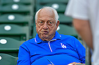 Los Angeles Dodger Hall of Fame manager Tommy Lasorda in attendance as the Ogden Raptors faced the Idaho Falls Chukars in Pioneer League action at Lindquist Field on September 3, 2016 in Ogden, Utah. The Chukars defeated the Raptors 3-0. (Stephen Smith/Four Seam Images)