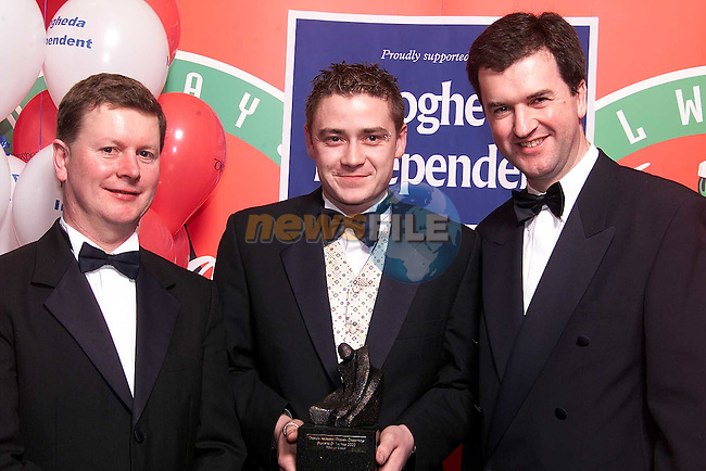 Mark Millar accepting his monthly award from Frank Mulrennan, Managing Director Drogheda Independent and Declan McCann of Drogheda Concentrates..Picture: Paul Mohan/Newsfile