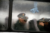 Military soldiers arrive on a bus for a ceremony at the Memorial Hall of the Nanjing Massacre in Nanjing, Jiangsu, China on Dec. 13, 2009. On Dec. 13, 2009, thousands of people visited The Memorial Hall of the Nanjing Massacre in Nanjing, Jiangsu, China, to remember those who died at the hands of Japanese soldiers in 1937-8.  The day marked the 72nd anniversary of the start of the massacre. The historical account has always been mired in controversy, and differing opinions on what actually happened have been a consistent obstacle to relations between China and Japan.  China's official account of history states that 300,000 people were killed by Japanese forces over a 6-week period starting Dec. 13, 1937