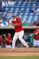 Clearwater Threshers catcher Deivi Grullon (13) at bat during a game against the Palm Beach Cardinals on April 14, 2017 at Spectrum Field in Clearwater, Florida.  Clearwater defeated Palm Beach 6-2.  (Mike Janes/Four Seam Images)
