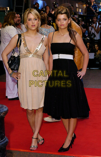 "PEACHES & PIXIE GELDOF.The ""Pirates of the Caribbean: Dead Man's Chest"" European premiere, Odeon Leicester Square, London, UK..July 3rd, 2006.Ref: CAN.full length beige sequin dress black white belt sisters siblings.www.capitalpictures.com.sales@capitalpictures.com.©Capital Pictures"