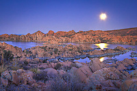 Watson Lake Reflection - Arizona - Full Moon - Granite Dells, Prescott
