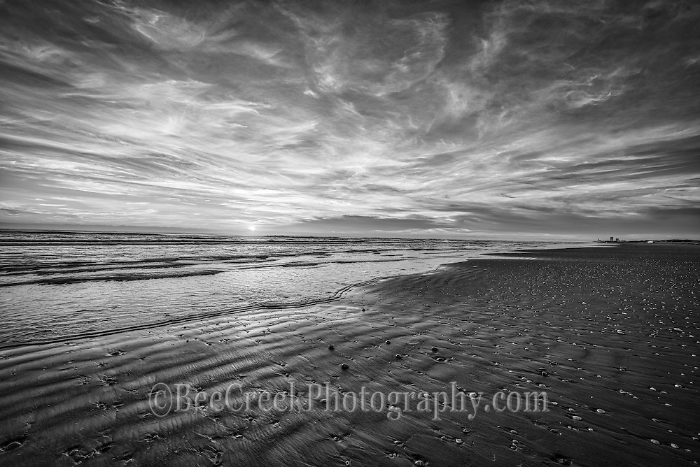 South Padre Island, beach, sunrise, sand, clouds, surf, shell, black and white, BW, coastal, sea, ocean, water,