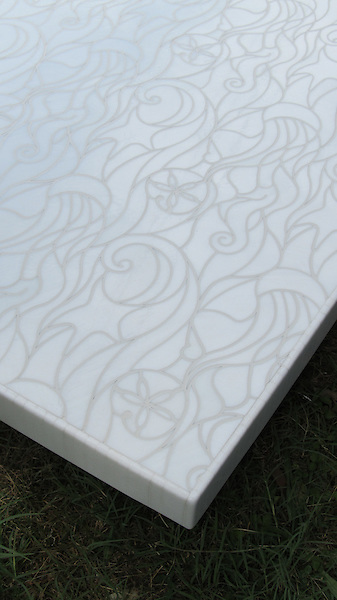 Octopus's Garden, a jewel glass waterjet mosaic, is shown in Moonstone.<br />