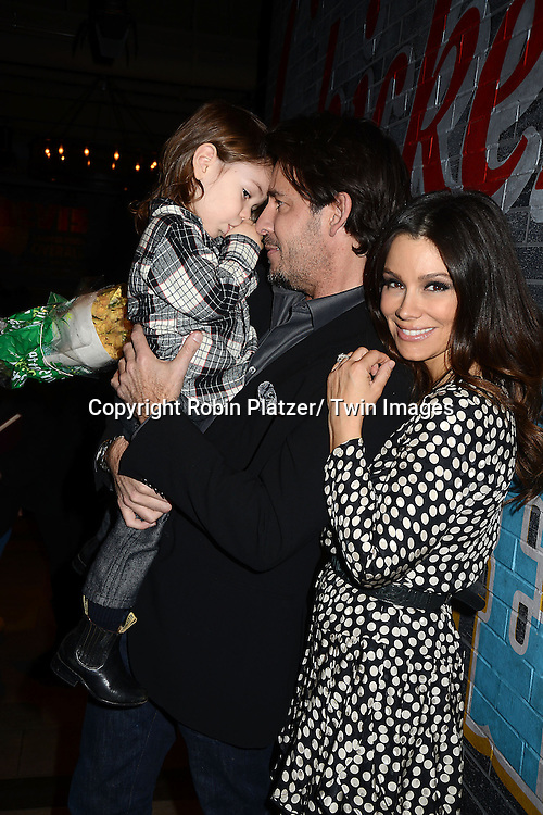 """Ricky Paull Goldin and son  Kai and fiancee Gretta Monahan  attends the Ricky Paull Goldin premiere party and fundraiser for his new HGTV show """"Spontaneous Construction"""" which will air on February 15, 2013. The party was on February 10, 2013 at Guy's American Kitchen in New York City."""