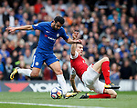 Pedro of Chelsea and Laurent Koscielny of Arsenal during the premier league match at Stamford Bridge Stadium, London. Picture date 17th September 2017. Picture credit should read: David Klein/Sportimage