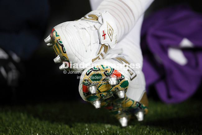 RUSTENBURG, SOUTH AFRICA - JUNE 12:  England boots detail on the team bench prior to a 2010 FIFA World Cup soccer match against the United States June 12, 2010 in Rustenburg, South Africa.  NO mobile use.  Editorial ONLY.  (Photograph by Jonathan P. Larsen)