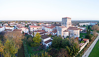 France, Saintonge, Charente Maritime, Hiers Brouage,  Brouage citadel, labelled Les Plus Beaux Villages de France (The Most Beautiful Villages of France), village and Saint Pierre church (aerial view) // France, Charente-Maritime (17), Saintonge, Mornac-sur-Seudre, labellisé Les Plus Beaux Villages de France, le village et l'église Saint-Pierre (vue aérienne)