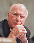 Washington, DC - July 13, 2009 -- United States Senator Patrick Leahy (Democrat of Vermont), Chairman of the U.S. Senate Judiciary Committee, listens to the opening statements as the committee considers the nomination of Judge Sonia Sotomayor as Associate Justice of the U.S. Supreme Court on Monday, July 13, 2009..Credit: Ron Sachs / CNP