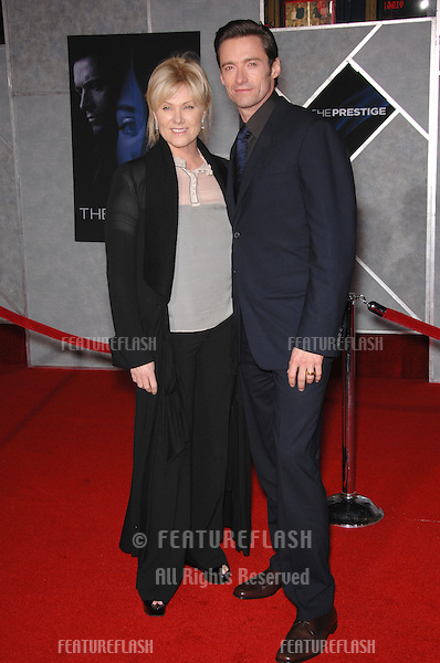 "HUGH JACKMAN & wife DEBORRAH-LEE FURNESS at the world premiere, in Hollywood, of his new movie ""The Prestige""..October 17, 2006  Los Angeles, CA.Picture: Paul Smith / Featureflash"
