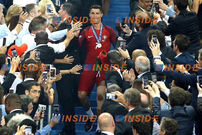 Esultanza fine partita Cristiano Ronaldo celebration end of match Portugal <br /> Paris 10-07-2016 Stade de France Football Euro2016 Portugal - France / Portogallo - Francia Finale/Finals<br /> Foto Matteo Ciambelli / Insidefoto