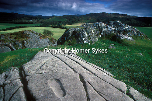 Dunadd Stone Footprint. Nr Lochgilphead, Argyllshire, Strathclyde, Scotland. UK Page 133 Mysterious Britain
