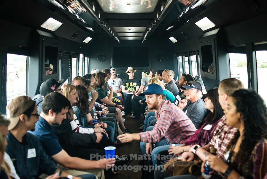 Reporter Harry Wallop (back in hat) joins Colorado Cannabis Tour for a marijuana bus tour to Medicine Man grow facility in Denver, Colorado, Friday, September 30, 2016. <br /> <br /> Photo by Matt Nager
