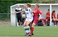 20180815 - Zulte , BELGIUM : OHL's Petra Baldewijns pictured in a duel with Zulte's Amber Bert (r) during a friendly pre season soccer match between the women teams of Zulte Waregem Dames and OHL Oud Heverlee Leuven Dames  , Wednesday 15 August 2018 . PHOTO DAVID CATRY | SPORTPIX.BE