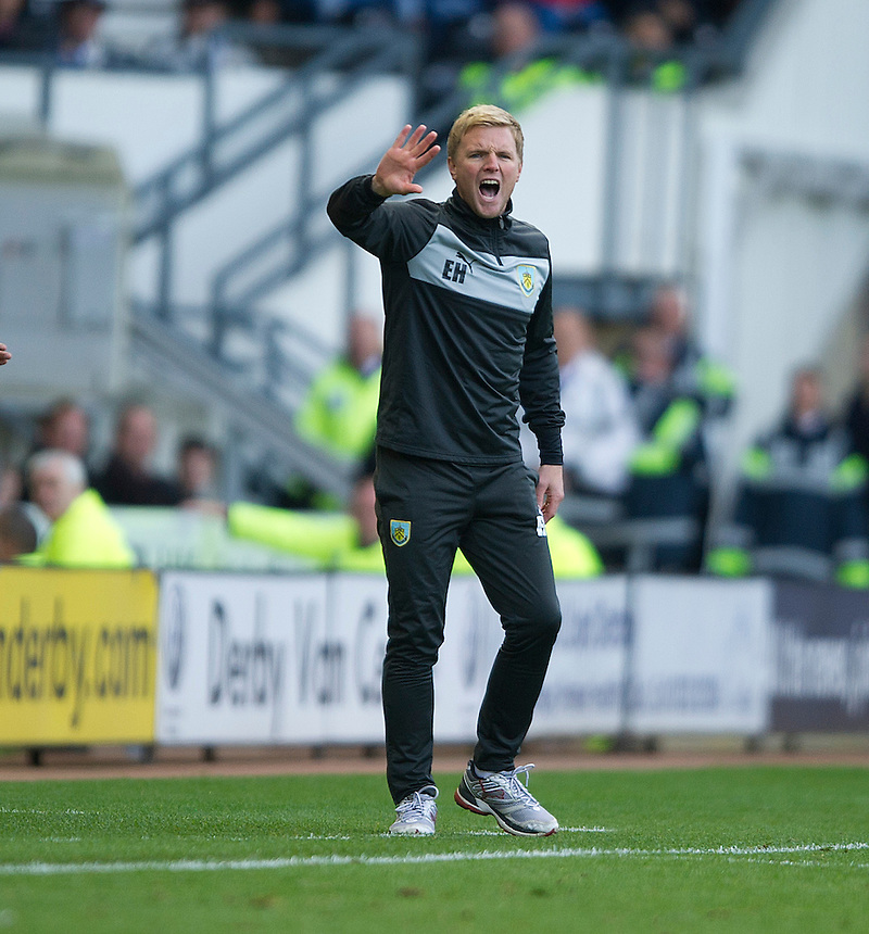 Burnley's Manager Eddie Howe shouts instructions to his team..Football - npower Football League Championship - Derby County v Burnley - Saturday 22nd September 2012 - Pride Park - Derby..
