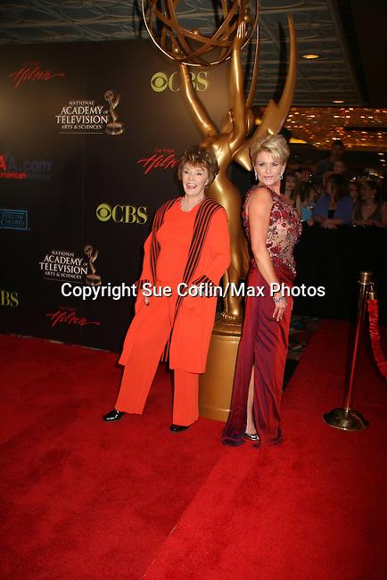Peggy McCay & Judy Evans - Red Carpet - 37th Annual Daytime Emmy Awards on June 27, 2010 at Las Vegas Hilton, Las Vegas, Nevada, USA. (Photo by Sue Coflin/Max Photos)