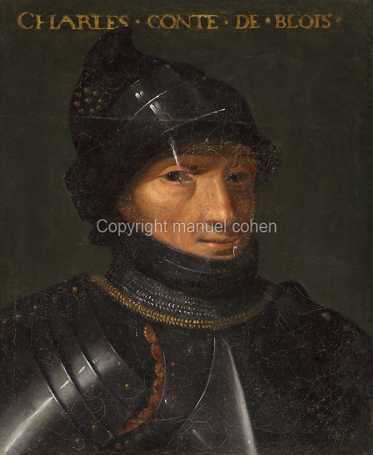 Portrait of Charles, Count of Blois, in the Galerie des Illustres or Gallery of Portraits, early 17th century, in the Chateau de Beauregard, a Renaissance chateau in the Loire Valley, built c. 1545 under Jean du Thiers and further developed after 1617 by Paul Ardier, Comptroller of Wars and Treasurer, in Cellettes, Loir-et-Cher, Centre, France. The Gallery of Portraits is a 26m long room with lapis lazuli ceiling, Delftware tiled floor and decorated with 327 portraits of important European figures living 1328-1643, in the times of Henri III, Henri IV and Louis XIII. The chateau is listed as a historic monument. Picture by Manuel Cohen