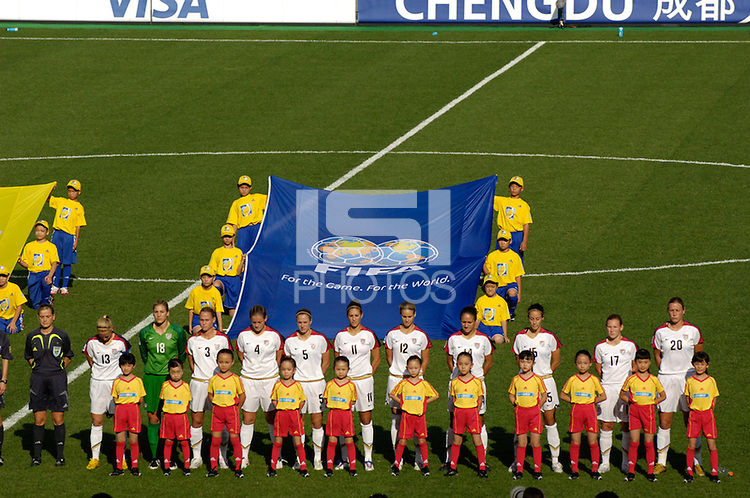 The U.S. Starting XI. The United States (USA) defeated Sweden (SWE) 2-0 during a FIFA Women's World Cup China 2007 opening round Group B match at Chengdu Sports Center Stadium, Chengdu, China, on September 14, 2007.