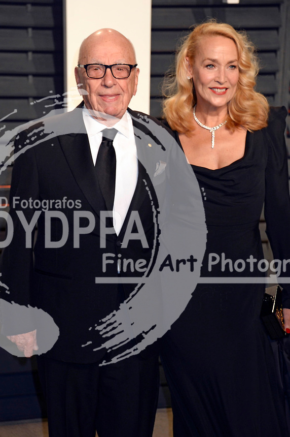 Rupert Murdoch and Jerry Hall attend the 2017 Vanity Fair Oscar Party hosted by Graydon Carter at Wallis Annenberg Center for the Performing Arts on February 26, 2017 in Beverly Hills, California.