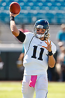 October 02, 2011:   Jacksonville Jaguars quarterback Blaine Gabbert (11) warms up prior to the start of action between the Jacksonville Jaguars and the New Orleans Saints at EverBank Field in Jacksonville, Florida.  New Orleans defeated Jacksonville 23-10.........