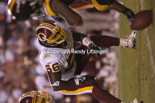 26 August 2005:  LaVar Arrington.<br /><br />The Washington Redskins defeated the Pittsburgh Steelers 17-10 during preseason game August 26, 2005 at Fed Ex Field in Landover, MD.<br />Mandatory Credit:  Randy Litzinger/Icon SMI