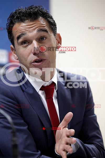 Getafe's coach Luis Garcia in press cenference after La Liga match.November 18,2012. (ALTERPHOTOS/Acero)