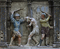 Sculptural detail of the Flagellation, from the Paixao de Cristo or Passion of Christ, 1530-40, by Joao de Ruao, 1480-1580, on the predella of the altarpiece in the Mosteiro de Celas, in the Museu Nacional de Machado de Castro, Coimbra, Portugal. The museum was opened in 1913 and renovated 2004-2012. The city of Coimbra dates back to Roman times and was the capital of Portugal from 1131 to 1255. Its historic buildings are listed as a UNESCO World Heritage Site. Picture by Manuel Cohen