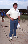 Donald Trump attends the Dishes Summer Beach Games at Atlantic Beach on August 10, 1996 in Amagansett, New York.