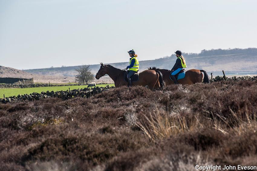 Horse riding at Baslow Edge, Derbyshire.