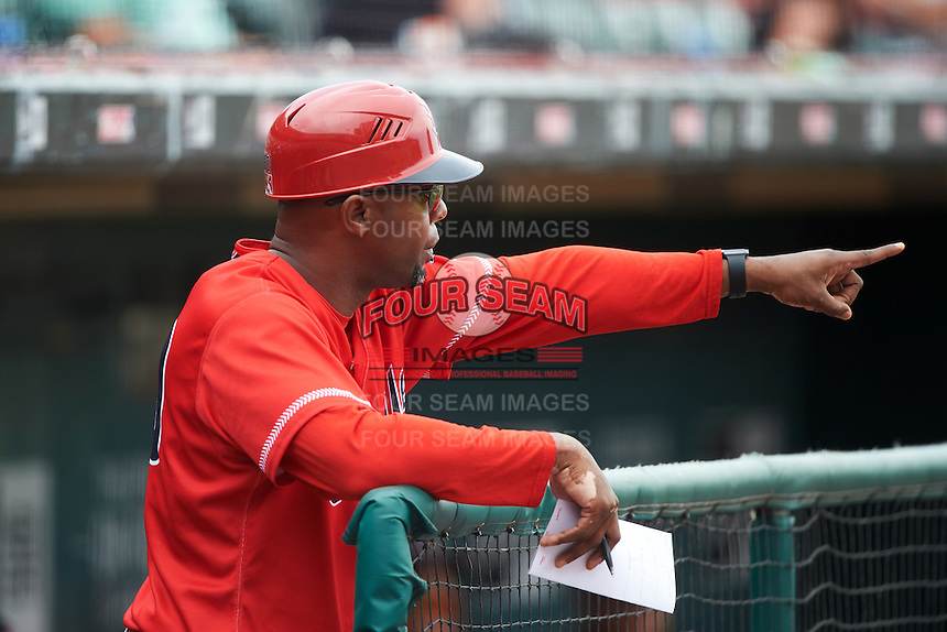 Louisville Bats manager Delino DeShields (90) during a game against the Buffalo Bisons on June 23, 2016 at Coca-Cola Field in Buffalo, New York.  Buffalo defeated Louisville 9-6.  (Mike Janes/Four Seam Images)