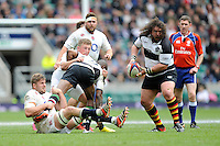 Adam Jones of Barbarians looks for support during the match between England and Barbarians at Twickenham Stadium on Sunday 31st May 2015 (Photo by Rob Munro)
