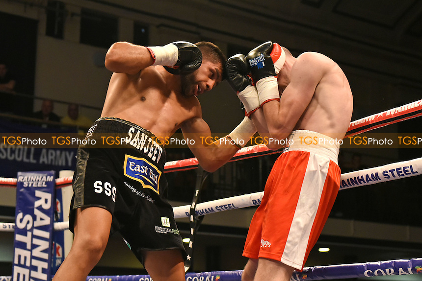 Sanjeev Sahota (black shorts) defeats Silvije Kebet during a Boxing Show at York Hall on 9th June 2016