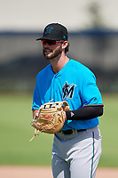 Miami Marlins first baseman Evan Edwards (28) during practice before an Instructional League game against the Washington Nationals on September 26, 2019 at FITTEAM Ballpark of The Palm Beaches in Palm Beach, Florida.  (Mike Janes/Four Seam Images)