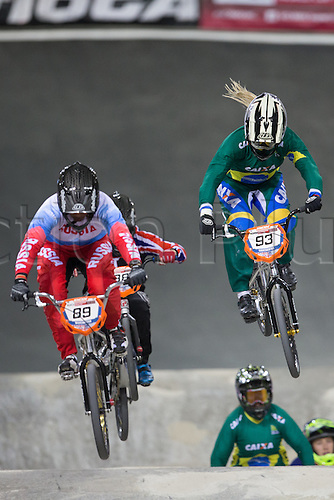 09.04.2016. National Cycling Centre, Manchester, England. UCI BMX Supercross World Cup day 1. Priscilla Strvaux Carnaval and Yaroslava Bondarenko.