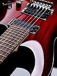 Red electric guitar Ibanez artistic close up