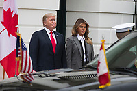 United States President Donald J. Trump and First Lady of the United States Melania Trump prepare to welcome Prime Minister of Canada Justin Trudeau and his wife Sophie Gr&Egrave;goire to the White House on October 11th, 2017 in Washington, D.C. <br /> CAP/MPI/RS<br /> &copy;RS/MPI/Capital Pictures