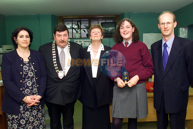 Mary Rooney, teacher, Leonard Hatrick, Chairman of the Town Commission, Mary Sharkey, acting principal, Anne-Marie McGahon, Student of the Year and David Bothwell, chairperson of the board of management pictured  at the awrds night in St Mary's NS in Ardee..Picture: Arthur Carron/Newsfile