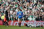 31.03.2019 Celtic v Rangers: Andy Halliday gets a yellow for clattering Edouard